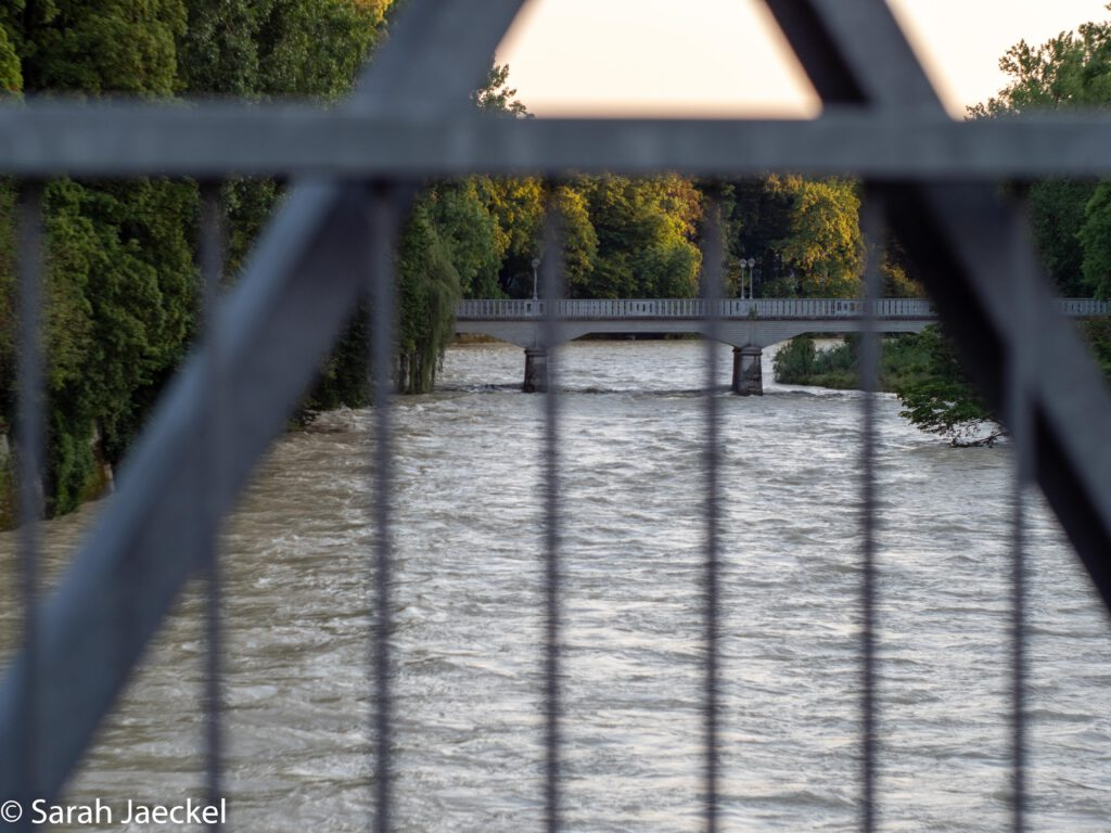 Munich flood river through fence